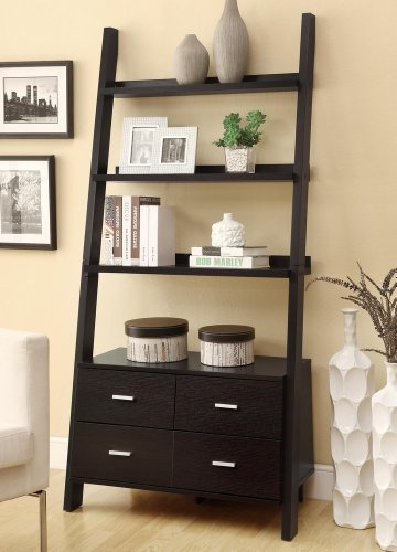 Coaster Leaning Ladder Bookshelf  2 Drawers in