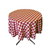 LA Linen Poly Checkered Round Tablecloth, 58-Inch, Red/White