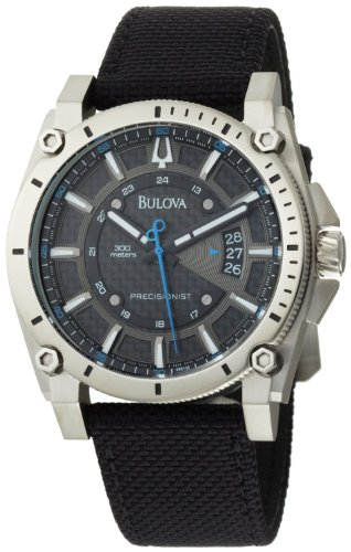 Bulova Men's 96B132 Precisionist Champlain Charcoal Dial Black Strap Watch (Bulova Carbon Fiber Watch compare prices)