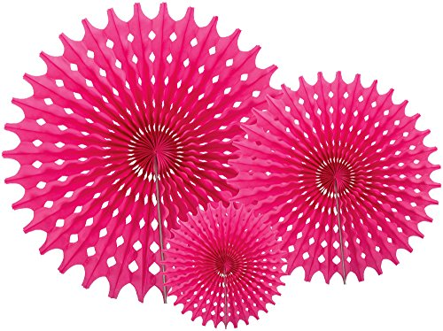 Party Partners Hanging Honeycomb Tissue Fan, Pink, Set of 3 (Pink Fan Decoration compare prices)