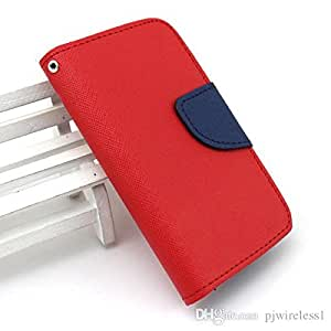 Mercury Fancy Wallet Dairy Flip Case Cover for HTC One A9 Red by Octer