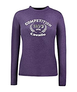 Cavallo Damen Langarm Shirt DIRA violett - Kombifreudiges Basicshirt in femininter Interpretation (violett, 40)