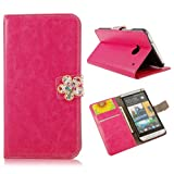 Mavis's Diary Horse Pattern Credit Card Pocket Design Foldable Hot Pink Leather Wallet Type with Magnetic Snap Flip Case Cover and Hard Plastic Back Cover with Soft Clean Cloth for HTC One 801e M7 (Five leaves Magnetic Snap)