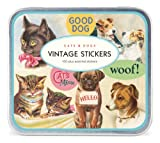 Cavallini Vintage Cats and Dogs Sheet with 100 Plus Assorted Stickers Packaged in a Tin