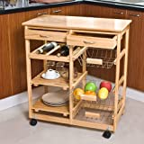 Wide, solid wood, kitchen trolley with shelves & drawers, FKW04-N