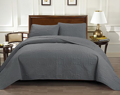 Rizzo Italian Collection Oversize Luxury Coverlet 100X106 Inches 1800 Premier series 3-Piece Bedspread Set-Super Soft-SALE-HIGHEST QUALITY 100% Brushed Microfiber Pinsonic Quilt - Queen, Grey (Italian Bedspread compare prices)