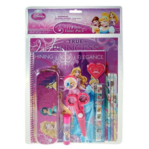 Disney Princess Pink 11 Piece Value Pack - Incl Portfolio, Spiral Notebook W/50 Sheets No Lines), Sharpener, Erasr, Pencils Ruller, Scissors, Glue Stick & Pencil Box - 1