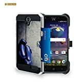 Spots8® for ZTE Grand X 3 case [Z959] case Slim Fit Metallic Case with belt clip [Holster] Card holder Stand [Blue Boxing Gloves]