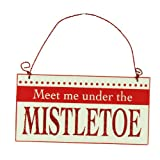 Meet Me Under The Mistletoe - Small Metal Sign (12cm x 6cm)