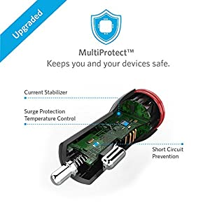 Cargador de carro Anker PowerDrive 2 24W de 2 puertos USB con cable Micro USB a USB de 3 pies