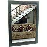 Replica Glass Decorative Mirror - (15 IN X 21 IN X 0.27 IN, Dark Blackish Grey)