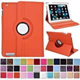HDE iPad 2/3/4 360 Degree Rotating Leather Folio Smart Case Cover Stand with Smart Cover Auto Wake/Sleep (Orange)