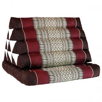Coussin Thai - Pouf - Triangulaire - Capoc/coton - Avec assise 1 plis - Koh Phi Phi - Rouge marron