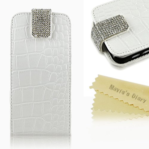 Great Price Mavis's Diary Bling Crystal Fashion Sparkle Glitter White Leather Wallet Type Magnet Design Flip Case Cover for Iphone 5 5g with Soft Clean Cloth