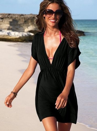 Women Sexy Deep V Neck Beach Swimwear Bikini Stretchy Cover up Shirt Dress Black
