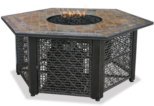 Uniflame GAD1374SP Lp Gas Outdoor Firebowl with Slate Tile Mantel