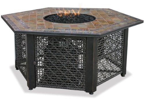 Uniflame GAD1374SP Lp Gas Outdoor Firebowl with Slate Tile Mantel