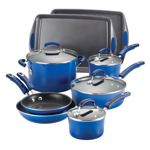 Rachael Ray Porcelain Enamel II Nonstick 12-Piece Cookware Set, Blue Gradient (Rachael Ray Blue Cookware compare prices)