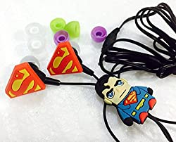 Fidelis (Black) Superman In-ear Headphones for All Mobile Phone,Mp3 and Laptops, 3.5mm Earphones Quality Sound Includes 3 Additional Earplug Covers - Great for Kids, Boys, Girls, Adults, Gifts - 1 Year Warranty