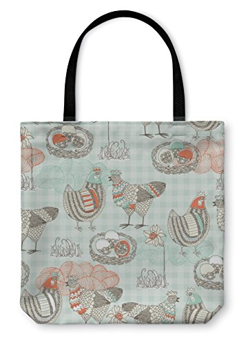 Gear New Tote Bag, Shoulder Tote, Hand Bag, Easter Pattern With Hen And Nest, Large (Chicken Egg Bag)