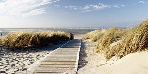 Glas – Bild Artland Wandbild Landschaften Fotografie Eva Gruendemann: Nordseestrand auf Langeoog – Steg in verschiedenen Größen
