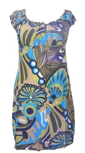 Short Shelley Bold Patterned Summer Dress - Fair Trade 100% Cotton(12, green)