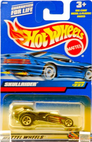 2000 - Mattel - Hot Wheels - Collector #227 - Skullrider - Black / Racing Graphics - Custom 5 Spoke Wheels - Driver & Rider - China Base - New - Out of Production - Limited Edition - Collectible