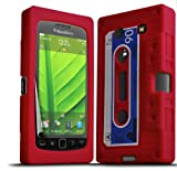 ONX3 Blackberry 9860 Torch Red Retro Cassette Tape Silicone Case Skin Cover + LCD Screen Protector Guard