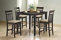 Big Sale Best Cheap Deals 5 Piece Cappuccino Finish Counter Height Dining Set