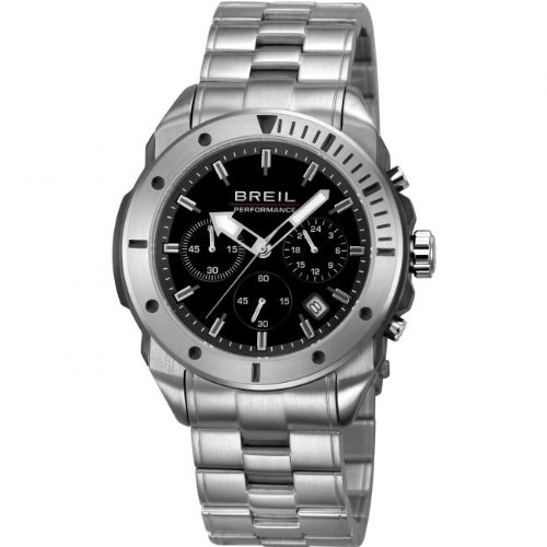 Breil Men's Quartz Watch with Black Dial Chronograph Display and Silver Stainless Steel Bracelet TW1125