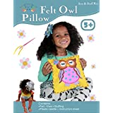 Sew and Stuff Kit. Felt Owl Pillow Ideal Kids Craft Kit Includes all Supplies. Fun Activity. Ages 5-12. All Inclusive Arts and Crafts, Woodland Animal Owls w/ Vibrant Colors Ideal Rainy Day Activity