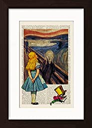 Alice In Wonderland Meets Edvard Munch\'s The Scream Mounted / Matted Dictionary Art Ready To Frame Print
