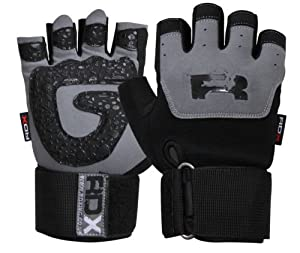 Buy Auth RDX Gel Weight lifting body building gloves Gym Strap Training Leather Grip : Size L by RDX