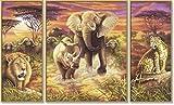 Schipper 609260520 - Malen-nach-Zahlen - Afrika die großen Fünf (Triptychon), 50x80 cm von Noris