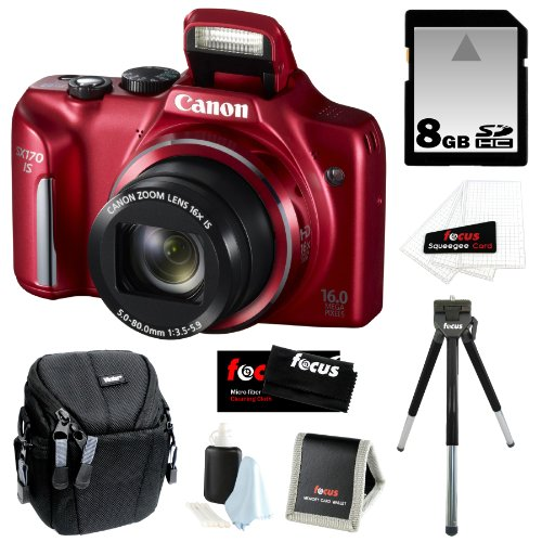 51rq9AIOtyL Canon PowerShot SX170 IS 16MP Digital Camera with 16x Optical Zoom and 3 inch LCD in Red + 8GB SDHC + Compact Camera Case + Mini Tripod + Accessory Kit Reviews