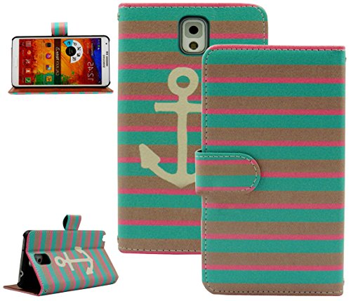 Mylife Aqua Blue + Pink Striped Anchor {Modern Design} Faux Leather (Card, Cash And Id Holder + Magnetic Closing) Slim Wallet For Galaxy Note 3 Smartphone By Samsung (External Textured Synthetic Leather With Magnetic Clip + Internal Secure Snap In Closure
