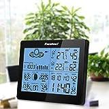 EXCELVAN-Funkwetterstation-mit-Auensensor-Hygrometer-Barometer-Thermometer-Wetterprognose-Dual-Alarm