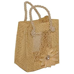 2.5 x 3 Mini Burlap Bags With Attached Flower - Natural - 96 Bags per box