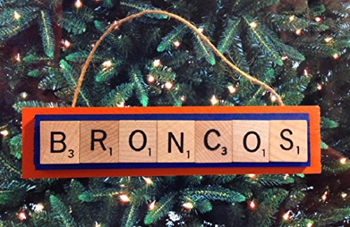 Boise State Broncos Scrabble Tiles Ornament Handmade Holiday Christmas Wood