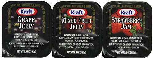Kraft ( grape, strawberry and mixed fruits ) Jams and Jellies, 0.5 oz, ( 200 Count )