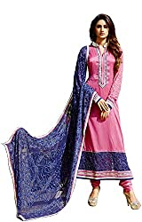 Shenoa Women's Tassar Silk Unstitched Dress Material(1114, Pink)