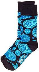 Happy Socks Men's Paisley Calf Socks (8904214908034_PA01-068_Medium_Navy)
