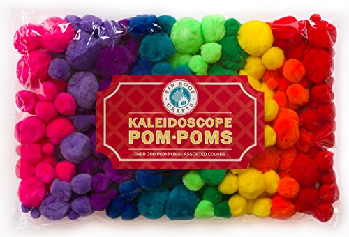 Pompoms for Crafts and Hobby Supplies, Over 300 Fuzzies in Bright Hot Kaleidoscope Colors BONUS Googly eye package (Hobby Supplies compare prices)