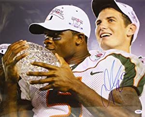 ANDRE JOHNSON SIGNED AUTOGRAPHED MIAMI HURRICANES 16x20 PHOTO PSA DNA #T61124