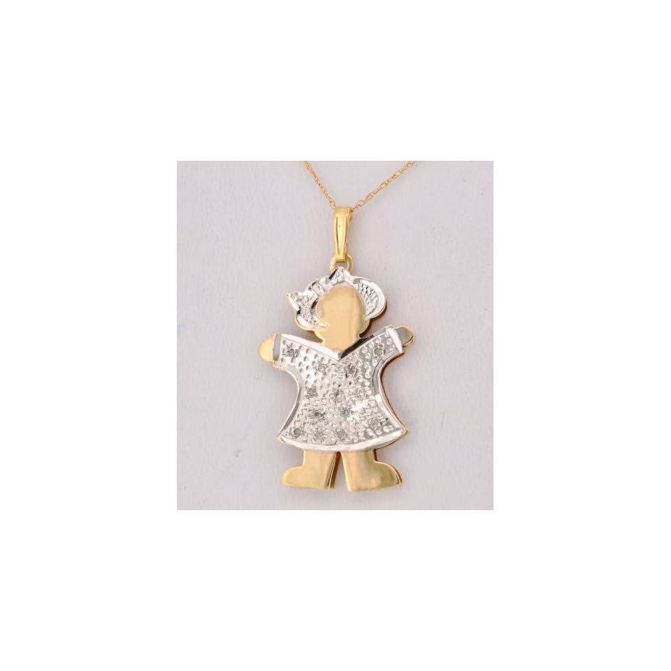 14K Two Tone Gold Diamond Girl Pendant