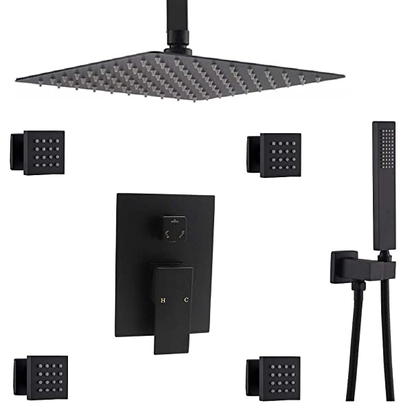 ENGA Shower System Ceiling Shower Faucet Set with 12 Rain Shower Head Set and Body Jets (Black) (Color: Black, Tamaño: 12 Inch)