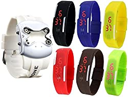 Pappi Boss Latest Set of 7 White Drone Trendy Silicone Digital Sports Jelly Slim Led Band Smart Watches