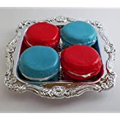 Patriotic Red And Blue Macarons Set Of 4 With Tray Perfect For 18 Inch American Girl Dolls