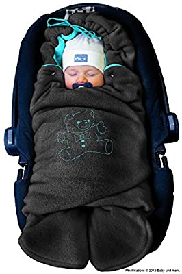 ByBoom® - Swaddling Wrap, Car Seat and Pram Blanket for Winter, Universal for infant and child car seats (e.g. Maxi-Cosi, Britax), for a pushchair/stroller, buggy or baby bed; THE ORIGINAL WITH THE BEAR