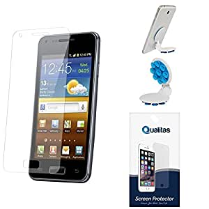 Qualitas Ultra Clear Pack of 9 Anti-Glare Anti-Scratch Anti-Fingerprint Screen Protector for Samsung Galaxy Grand Quattro i8552 + Octopus Mobile Phone Holder Stand